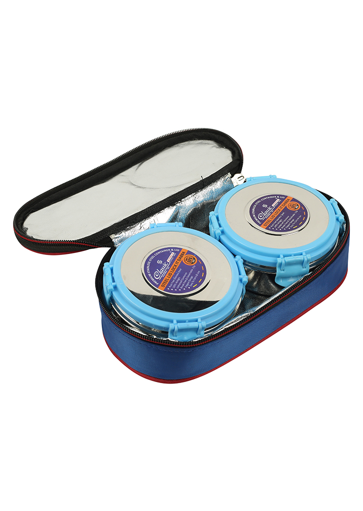 St.Steel Air Tight, Leak Proof Lunch Pack , Set of 2 Steel Containers With Insulated Foil Bag