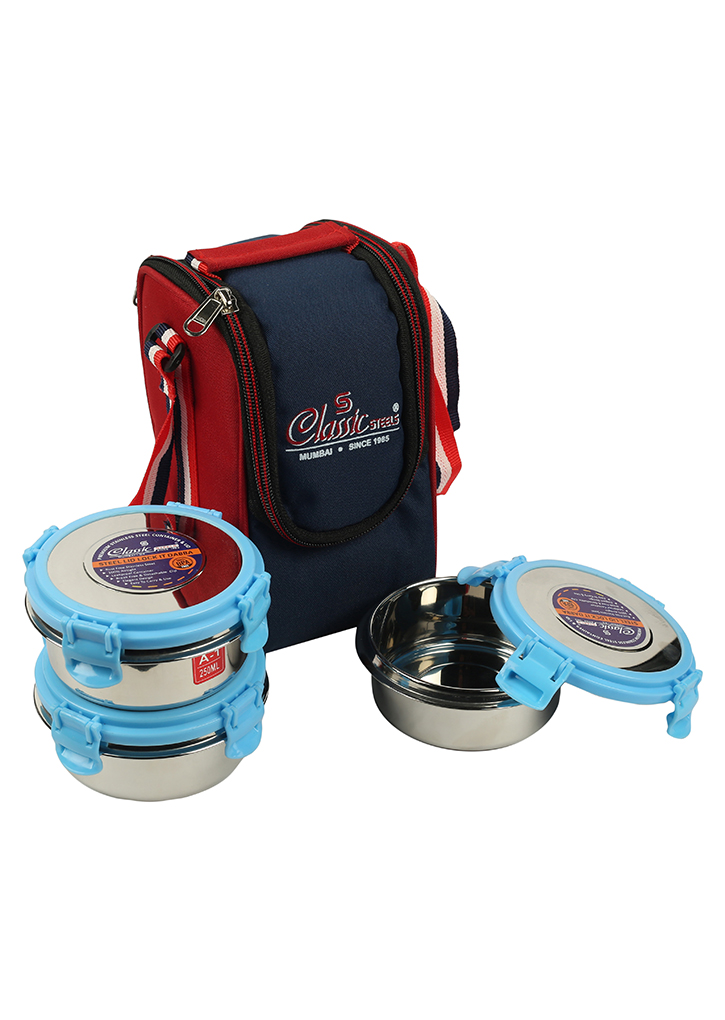St.Steel Air Tight, Leak Proof Lunch Pack , Set of 3 Steel Containers With Insulated Foil Bag